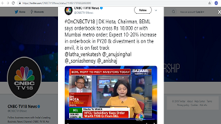 BEML CMD Speaks To CNBC TV 18 – 11.07.2019