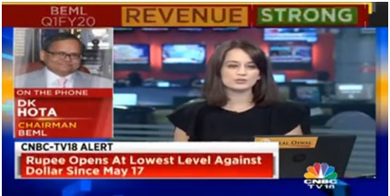 BEML CMD Speaks To CNBC – 05.08.2019